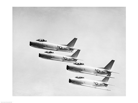Framed Four military planes flying in a formation Print