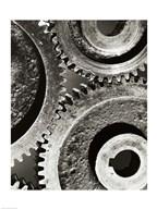 Close-up of interlocked gears  Fine Art Print