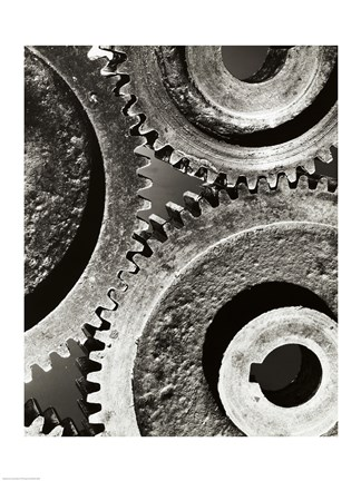 Framed Close-up of interlocked gears Print