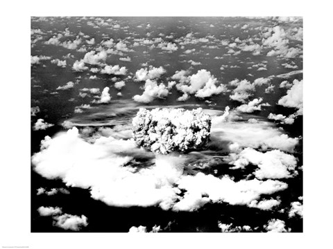 Framed Aerial view of an atomic bomb explosion, Bikini Atoll, Marshall Islands Print