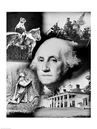Framed George Washington's face superimposed over a montage of pictures depicting American history, USA Print