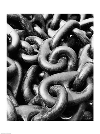 Framed Close-up of a rusty anchor chain, Sun Shipbuilding Company, Chester, Pennsylvania, USA Print