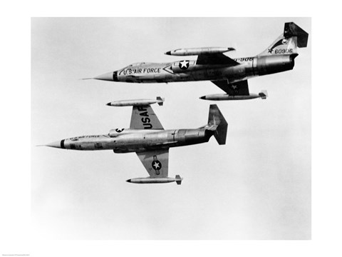 Framed Two fighter planes in flight, F-104C Starfighter, Tactical Air Command, 831st Air Division, George Air Force Base Print