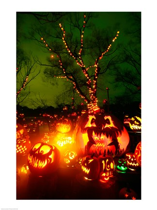 Framed Jack o' lanterns lit up at night, Roger Williams Park Zoo, Rhode Island Print