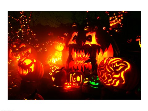 Framed Jack o' lanterns lit at Roger Williams Park Zoo, Rhode Island, USA Print
