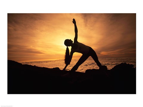 Framed Silhouette of a young woman practicing yoga, Haleakala, Maui, Hawaii, USA Print