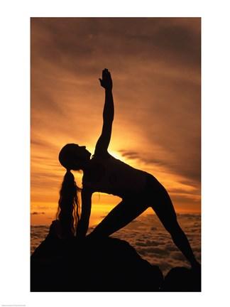 Framed Silhouette of a young woman practicing yoga, HI Print