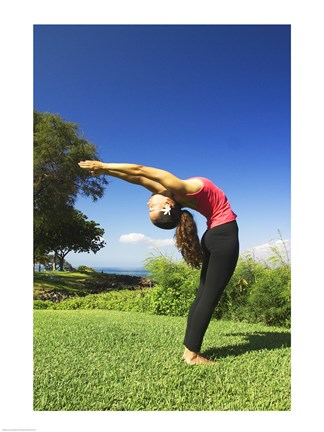 Framed Side profile of a young woman exercising, Maui, Hawaii, USA Print