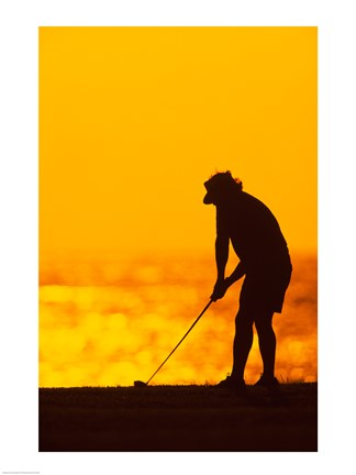 Framed Silhouette of a man playing golf, Maui, Hawaii, USA Print