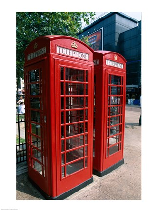 Framed Two telephone booths, London, England Print