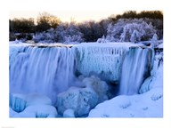 Waterfall frozen in winter, American Falls, Niagara Falls, New York, USA  Fine Art Print