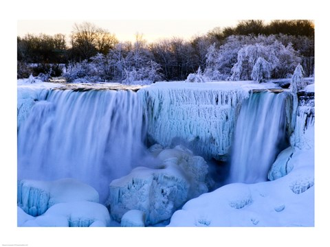 Waterfall frozen in winter, American Falls, Niagara Falls, New York, USA