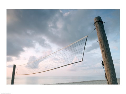Framed Volleyball net on the beach Print