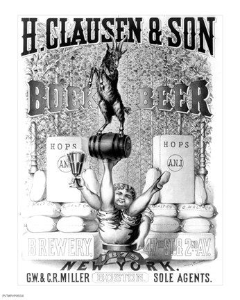 Framed Clausen and Son Bock Beer Print