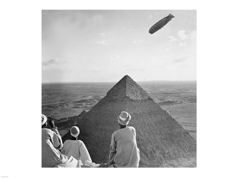 Framed Graf Zeppelin's Rendezvous with Pyraminds of Gizeh, Egypt Print