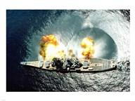 USS Iowa Firing Guns  Fine Art Print