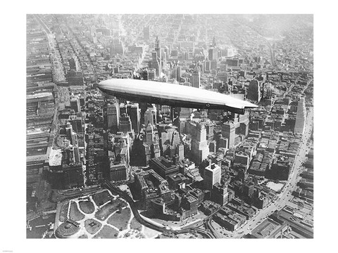 Framed USS Los Angeles Airship Over Manhattan Print