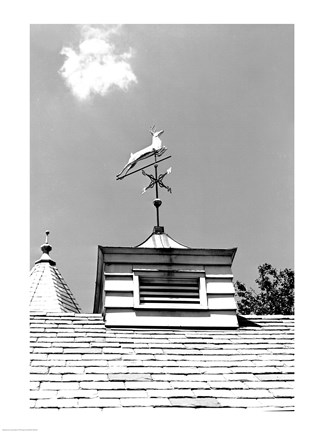 Framed Weather Vane of Leaping Deer Print