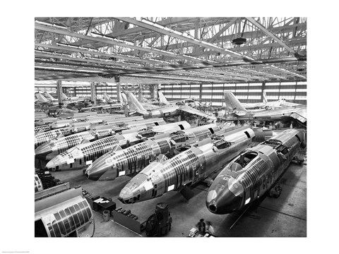Framed Incomplete Bomber Planes on the Final Assembly Line in an Airplane Factory, Wichita, Kansas, USA Print