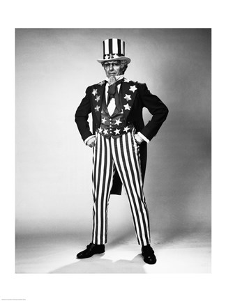 Framed Senior man in an Uncle Sam Costume Standing with Arms Akimbo Print