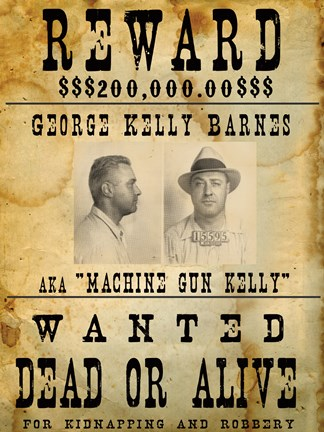 Machine Gun Kelly Wanted Poster Fine Art Print By Unknown