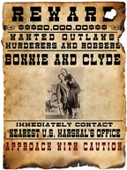 Bonnie and Clyde Wanted Poster  Fine Art Print