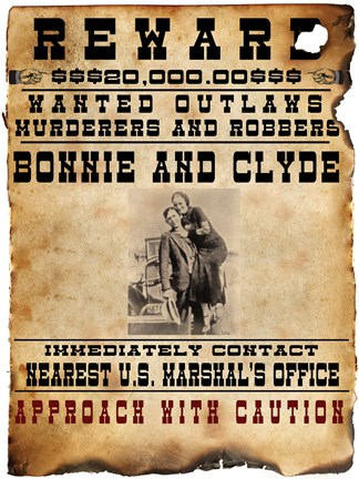 Framed Bonnie and Clyde Wanted Poster Print