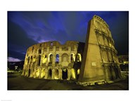 Colosseum lit up at night, Rome, Italy Art