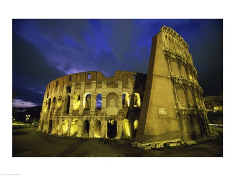 Framed Colosseum lit up at night, Rome, Italy Print