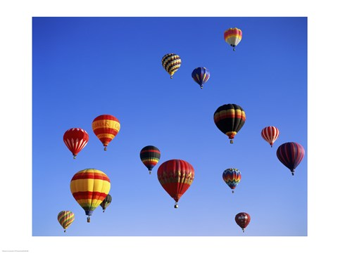 Framed Large Group of Hot Air Balloons Flying Print