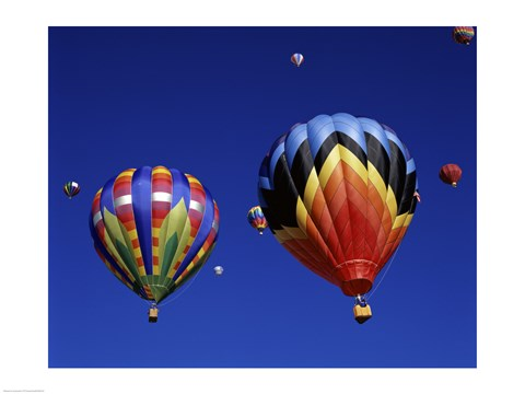 Framed Two Hot Air Balloons Flying Away Together Print