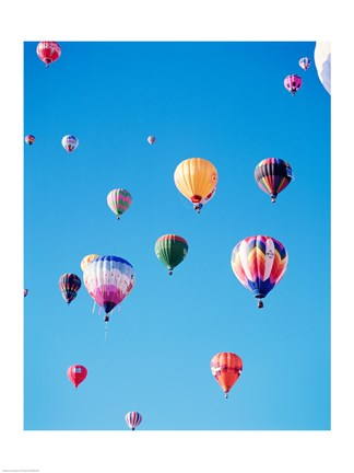 Framed Bunch of Hot Air Balloons in the Blue Sky Print