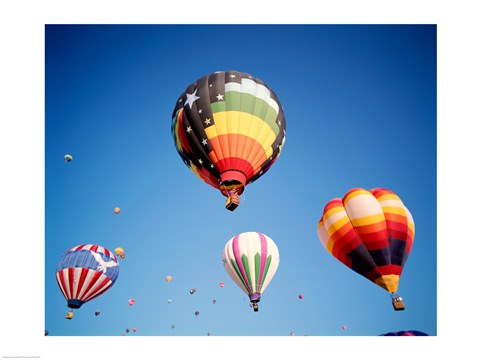 Framed Hot Air Balloons Floating Away Print