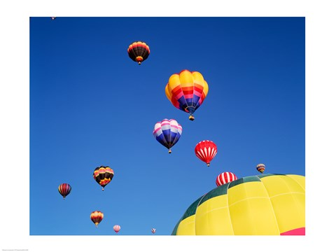 Framed Hot Air Balloons Flying Away in a Group Print