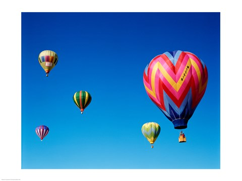 Framed Group of Hot Air Balloons Print