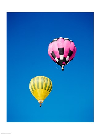 Framed Pink and a Yellow Hot Air Balloon Print