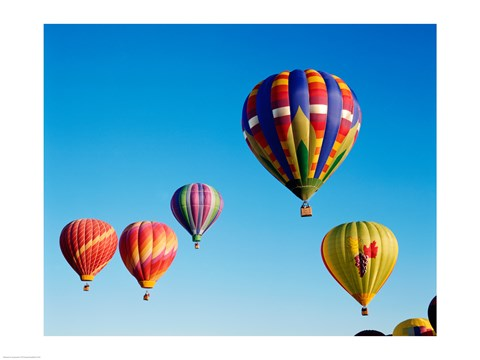 Framed Five Hot Air Balloons Flying Together Print