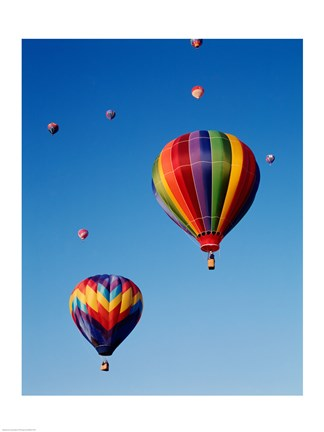 Framed Hot Air Balloons Going Up, Up and Away Print