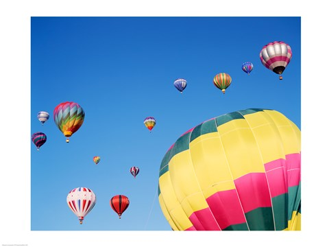 Framed View of Hot Air Balloons Flying into the Sky in New Mexico Print
