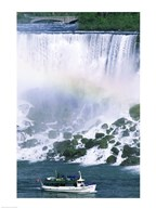 Boat in front of a waterfall, American Falls, Niagara Falls, New York, USA  Fine Art Print