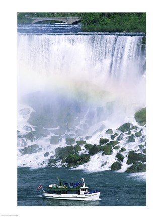 Framed Boat in front of a waterfall, American Falls, Niagara Falls, New York, USA Print