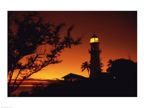 Framed Diamond Head Lighthouse Oahu Hawaii USA Print