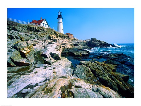 Framed Lighthouse at the coast, Portland Head Lighthouse, Cape Elizabeth, Maine, USA Print