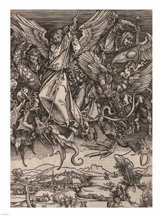 St Michael Fighting The Dragon By Albrecht Durer 1498