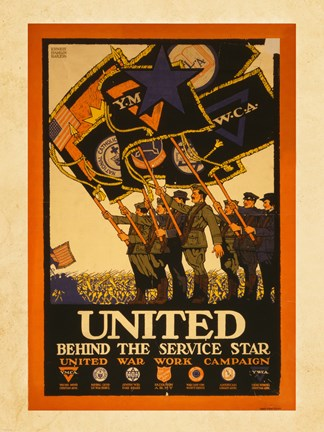 Framed United Behind the Service Star Print