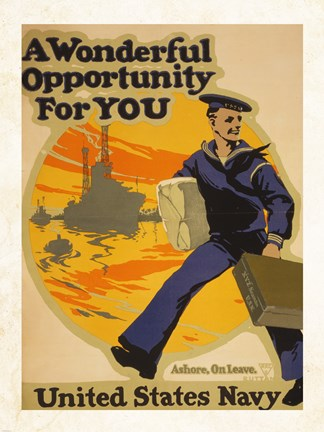 Framed Wonderful Opportunity for You United States Navy Print