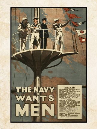 Framed Navy Wants Men Print