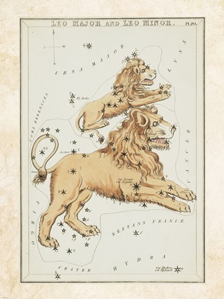Framed Leo Major and Leo Minor Constellation Print