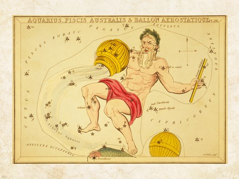 Framed Aquarius, Pices Australis & Ballon Aerostatique Constellation Print
