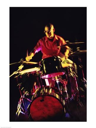 Framed Young man playing the drums Print